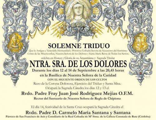 Solemne Triduo a Nuestra Señora de los Dolores